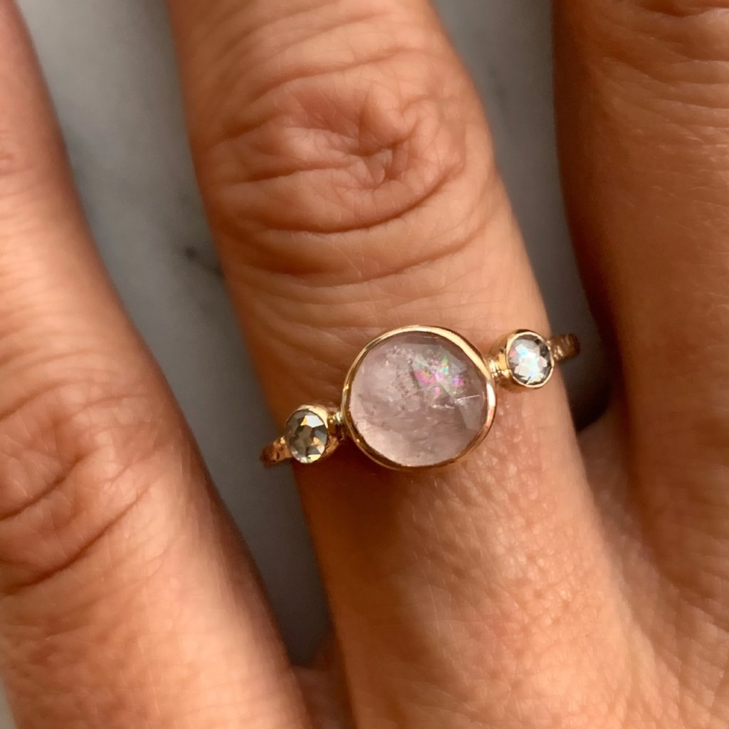 14K ROUND MORGANITE WITH NATURAL DIAMONDS