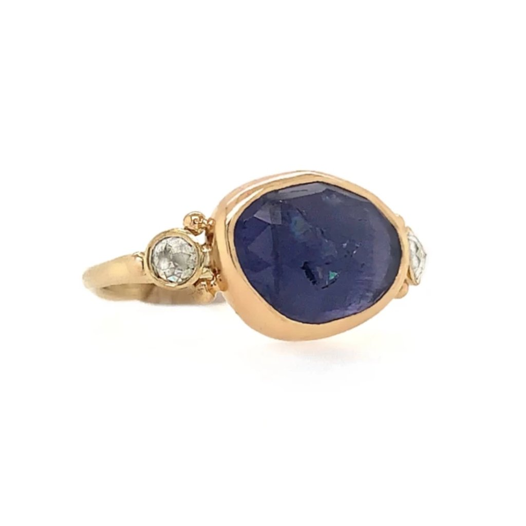 14K IOLITE WITH ROSECUT NATURAL DIAMONDS