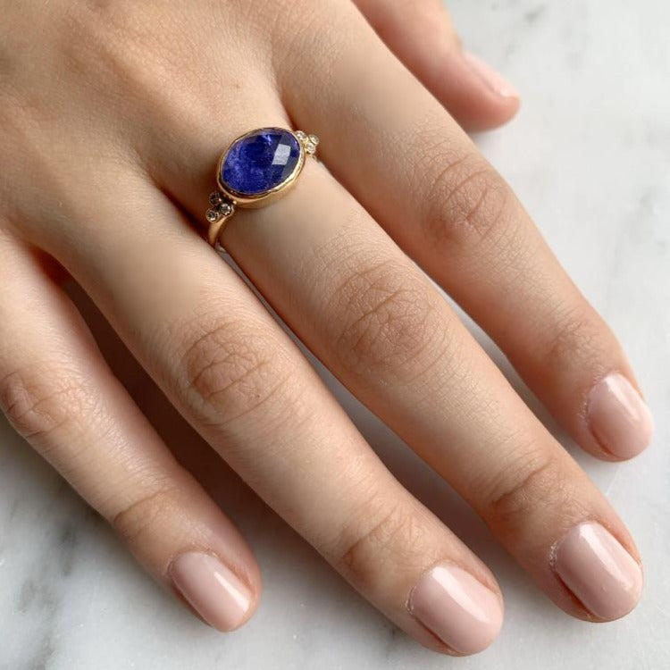 14K ROSECUT TANZANITE WITH DIAMOND CLUSTERS