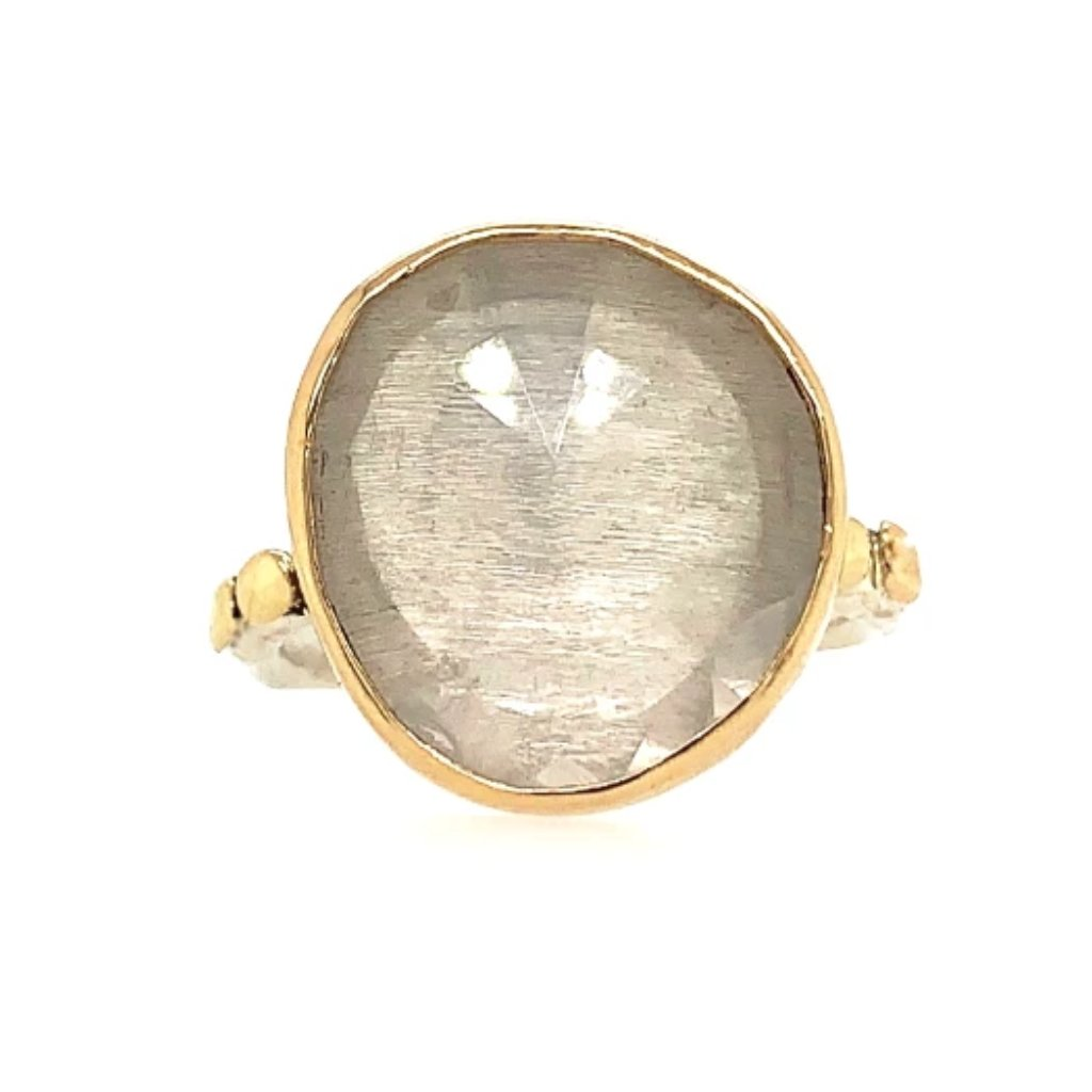 14K AND SS CLEAR QUARTZ PEBBLE