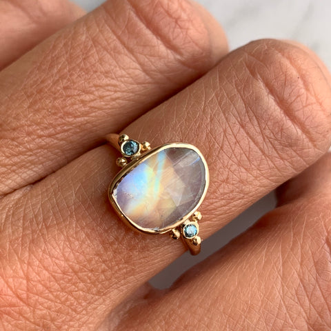 14K RAINBOW MOONSTONE WITH BLUE ZIRCON