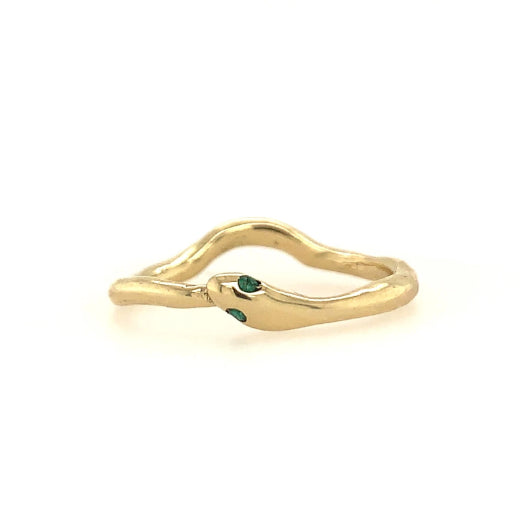 14K SNAKE HALO BAND WITH EMERALDS