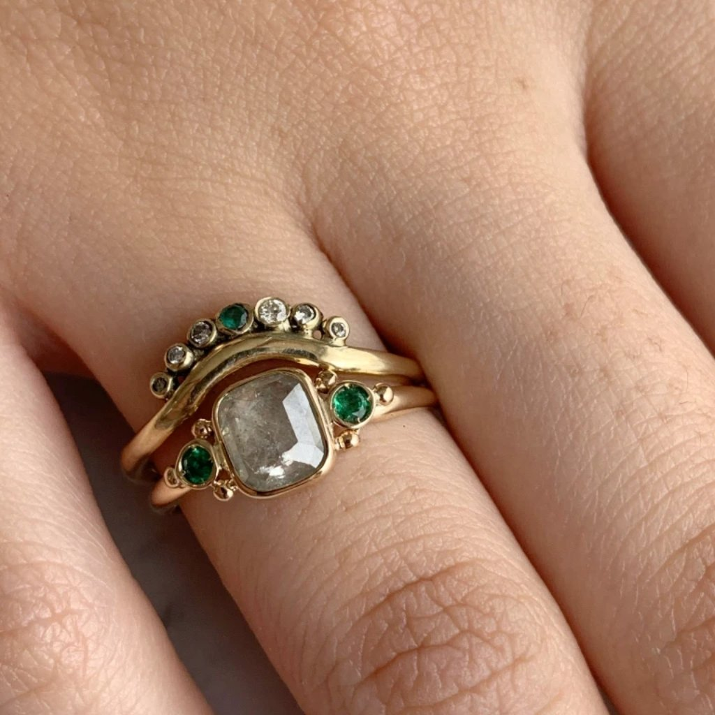 14K NATURAL DIAMOND WITH EMERALDS