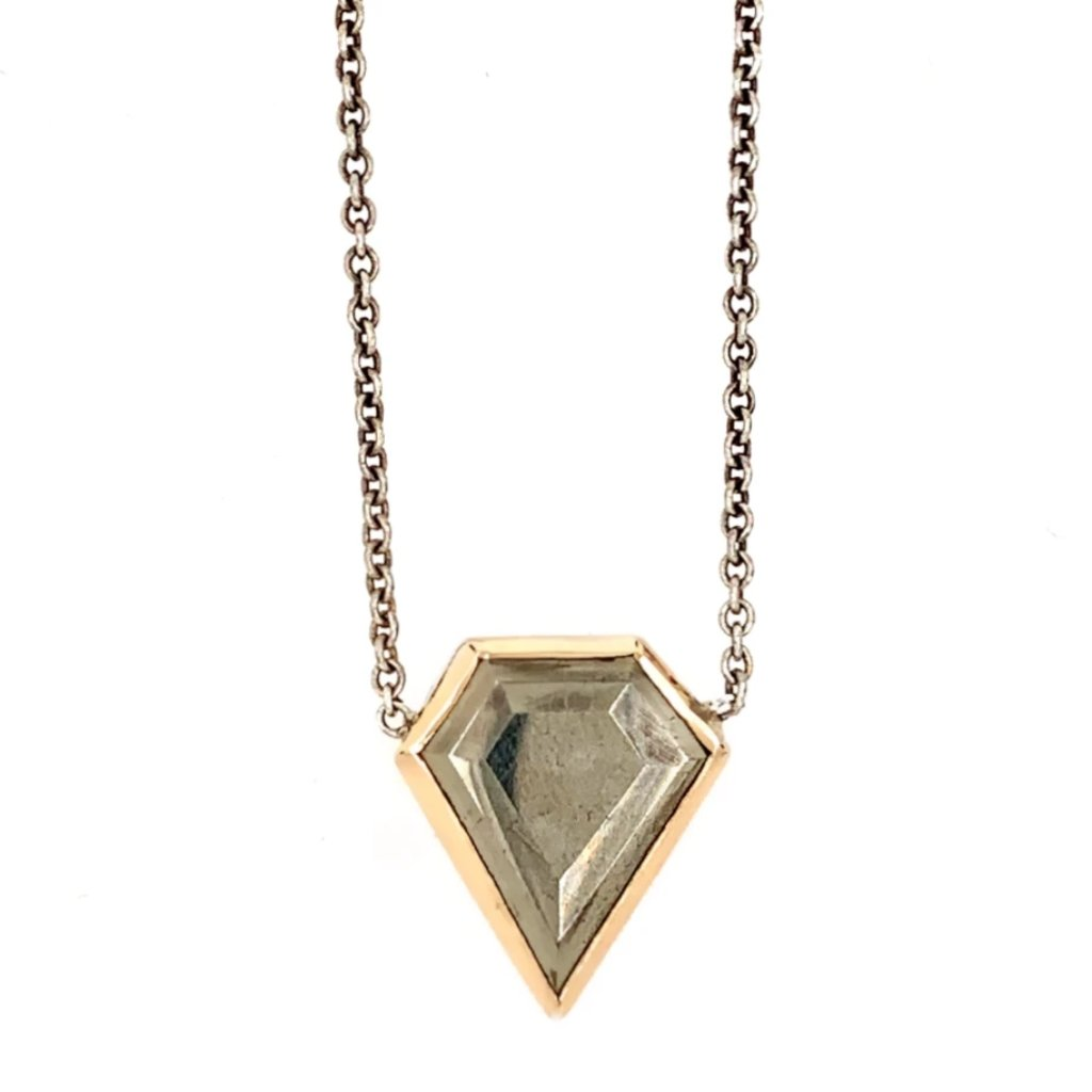 14K SS PYRITE SHIELD NECKLACE