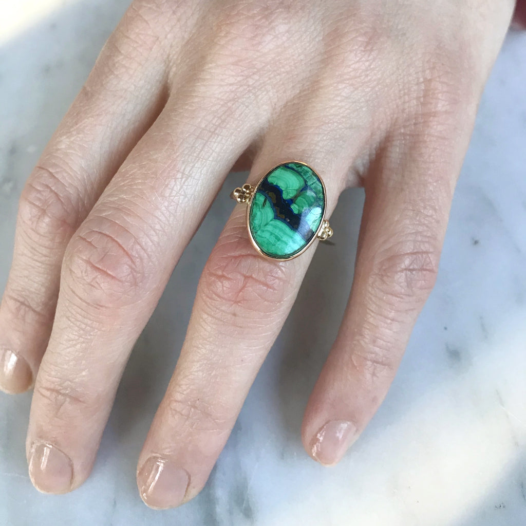 14K AND SS AZURITE MALACHITE RING