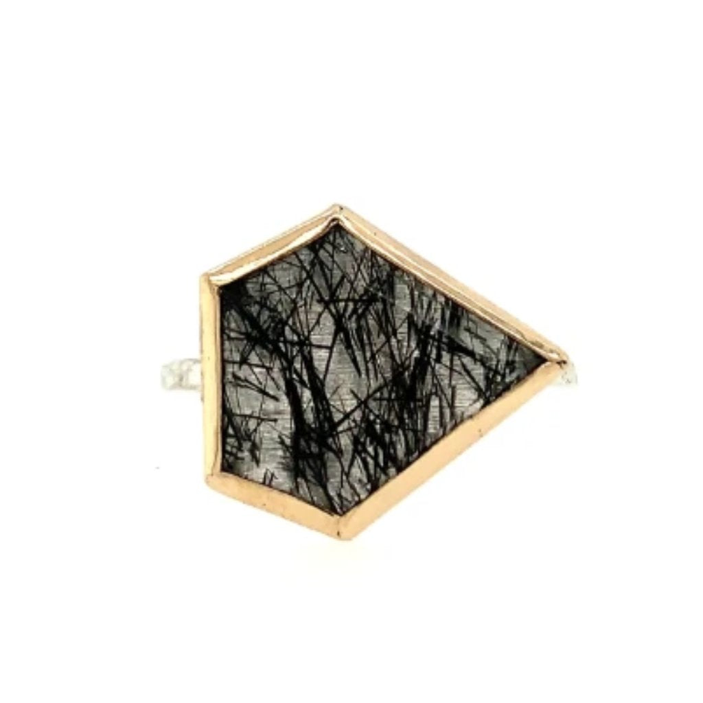 14K AND SS BLACK RUTILATED QUARTZ SHIELD