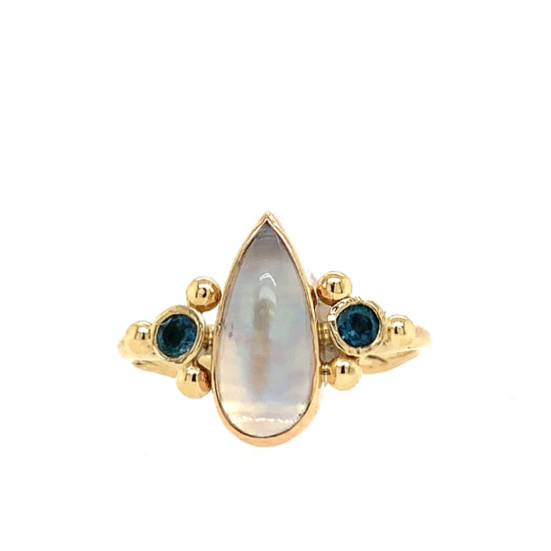 14K MOONSTONE WITH BLUE DIAMONDS