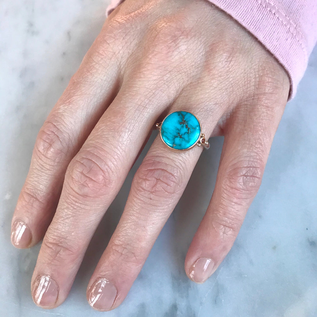 14K AND SS TURQUOISE WITH SUNSET SAPPHIRES