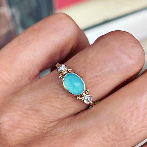 14K PERUVIAN OPAL WITH NATURAL DIAMONDS