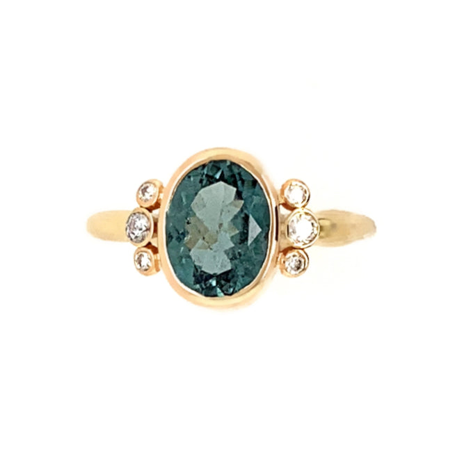 14K PALE BLUE TOURMALINE WITH DIAMONDS
