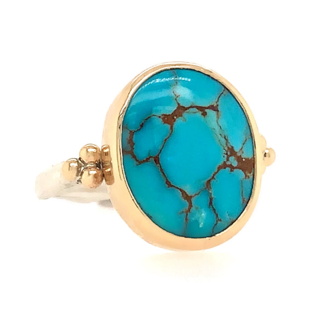14K AND SS TURQUOISE MOUNTAIN RING