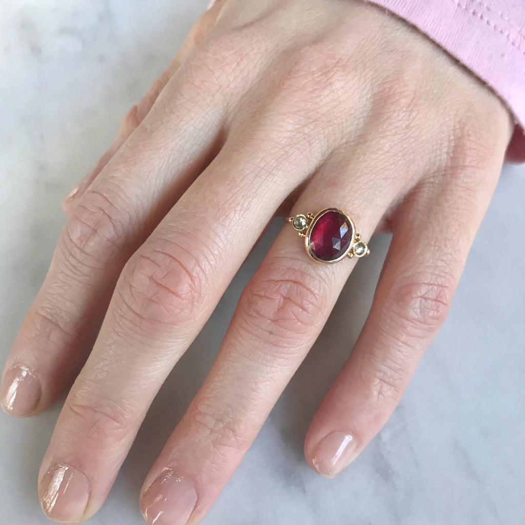 14K  RUBY WITH NATURAL DIAMONDS