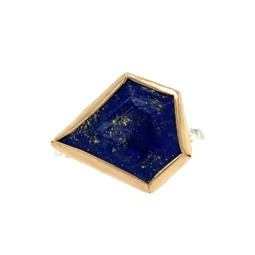 14K AND SS LAPIS SHIELD