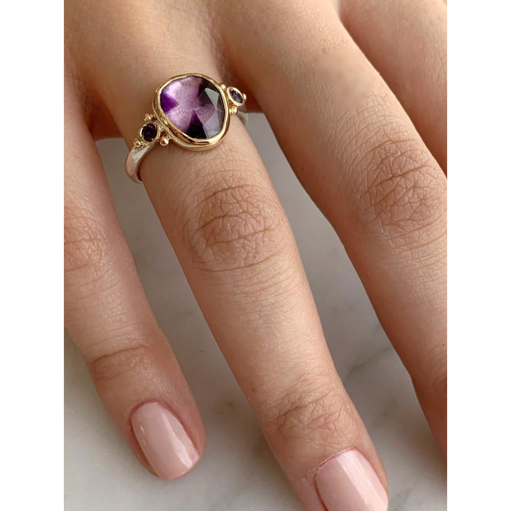 14K AND SS ROSECUT ATOMIC AMETHYST