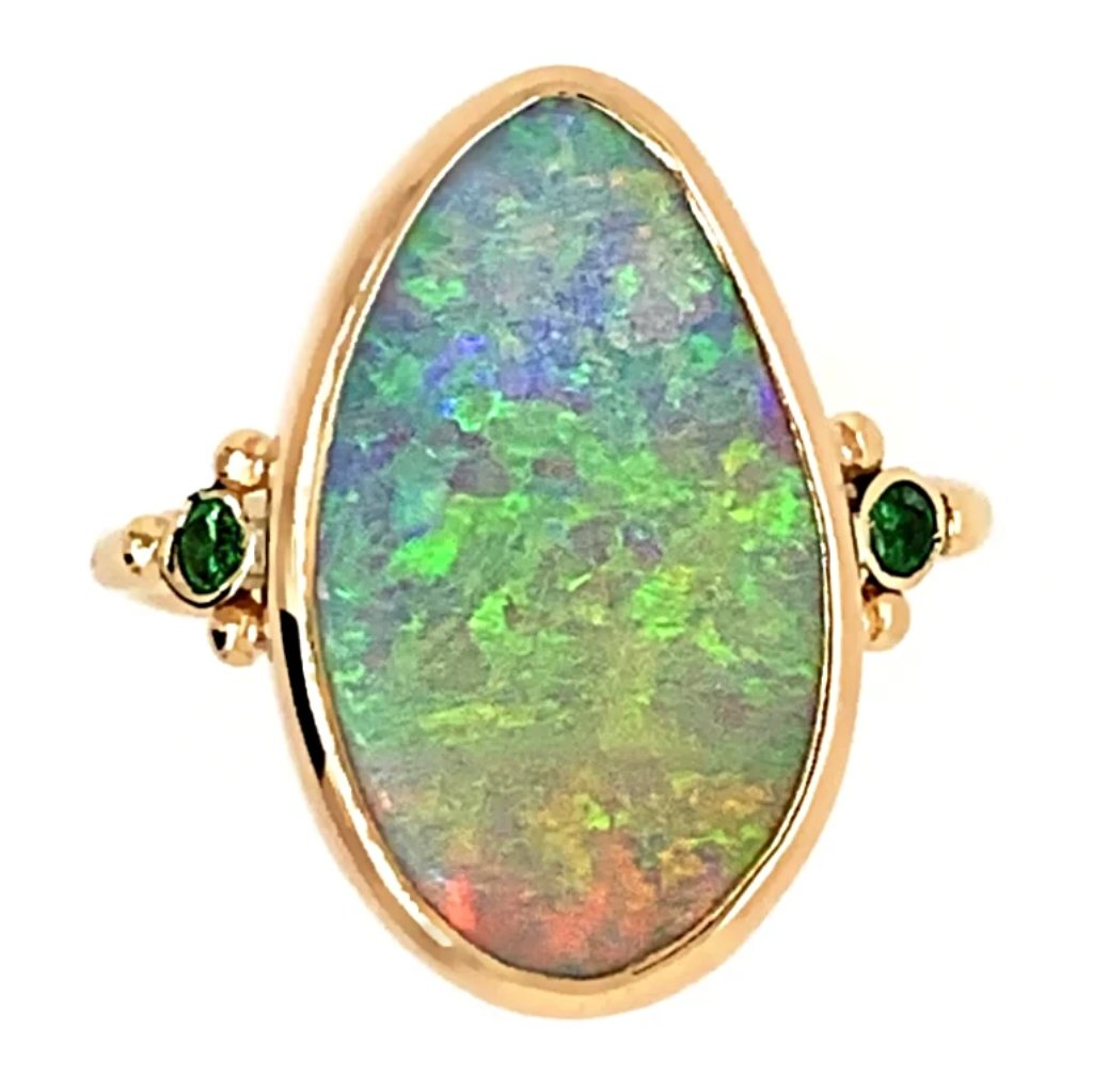 14K AUSTRALIAN BOULDER OPAL WITH EMERALDS