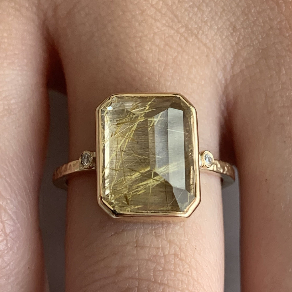 14K RUTILATED QUARTZ BAGUETTE WITH DIAMONDS