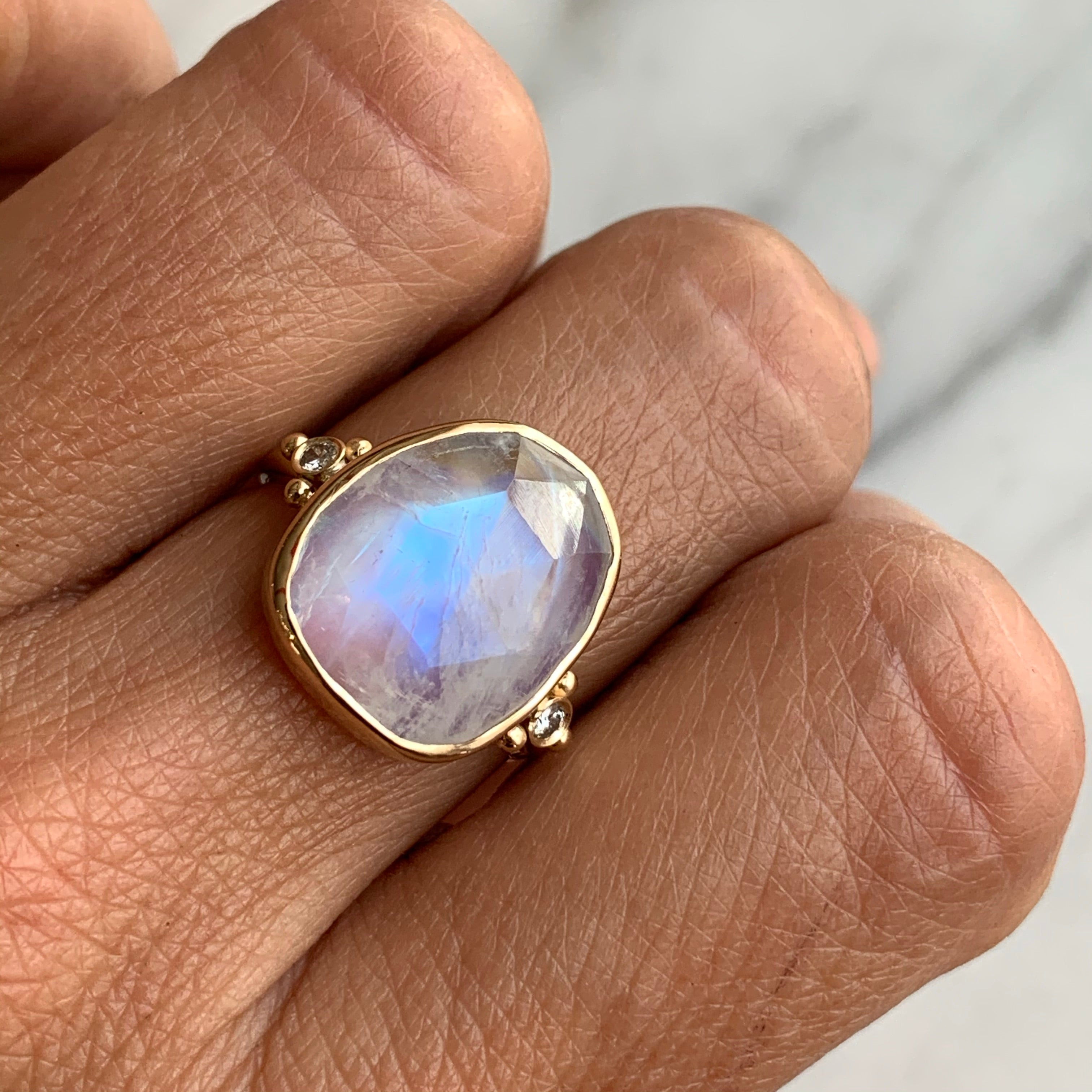 BIGGIE 14K ROSECUT MOONSTONE WITH DIAMONDS
