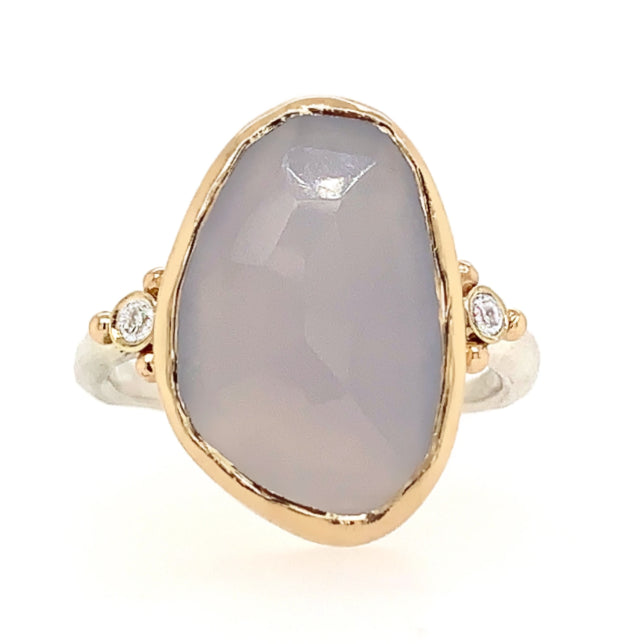 14K AND SS ROSECUT CHALCEDONY WITH DIAMONDS