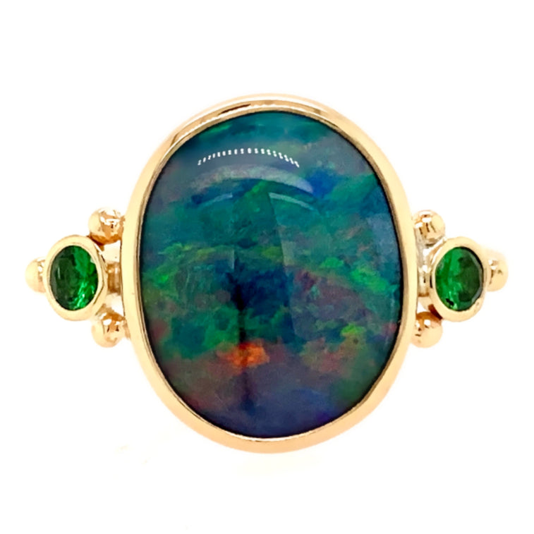 14K INDONESIAN OPAL WITH TSAVORITES
