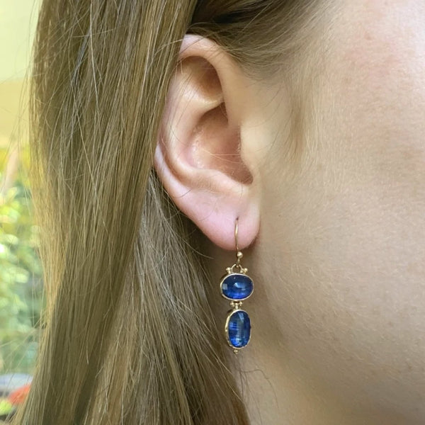 14K ROSECUT KYANITE DOUBLE DROP EARRINGS - Emily Amey Handmade one of a kind jewelry Hudson Valley New York.