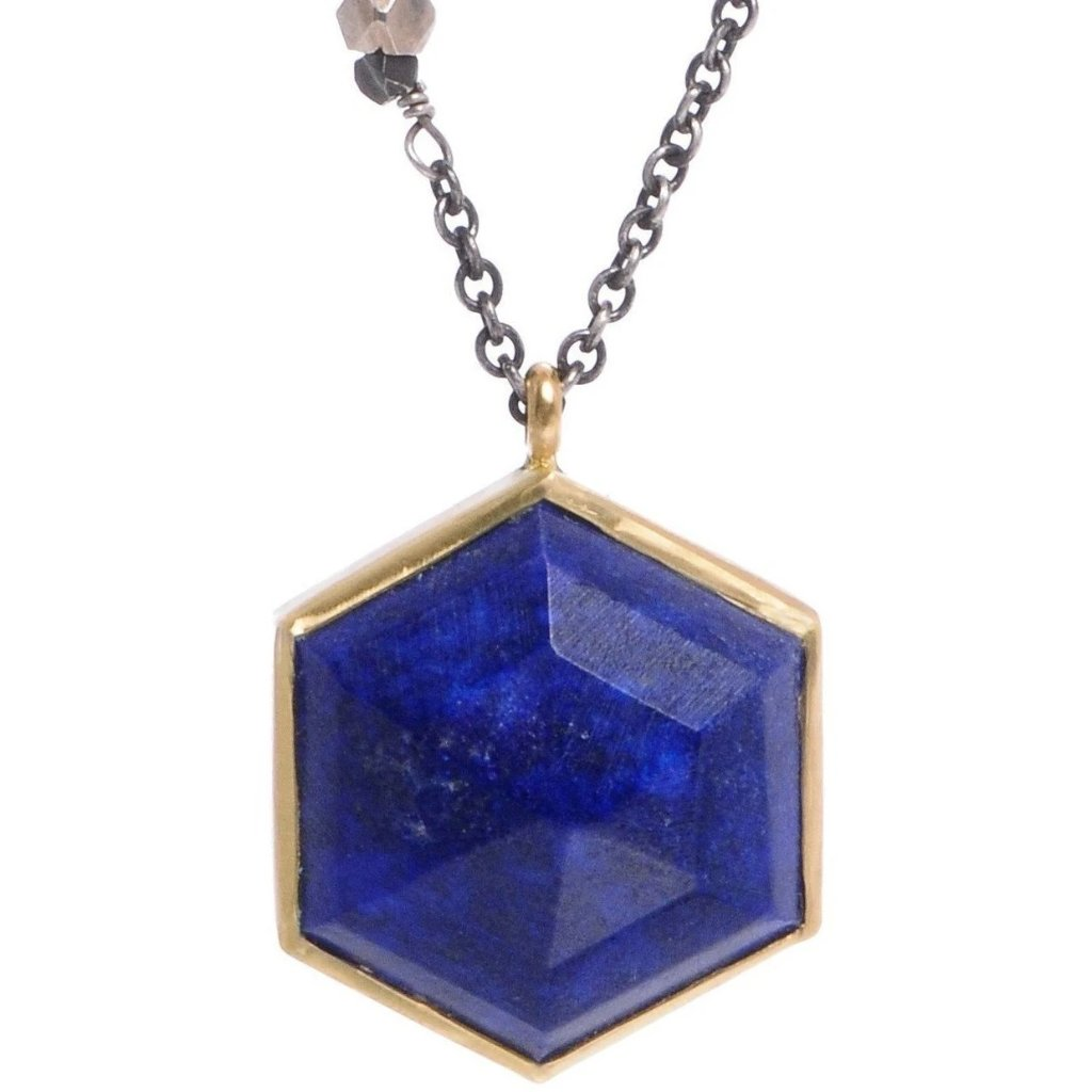 LAPIS HEXAGON NECKLACE