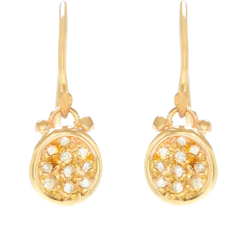 14K PAVE PUDDLE EARRINGS