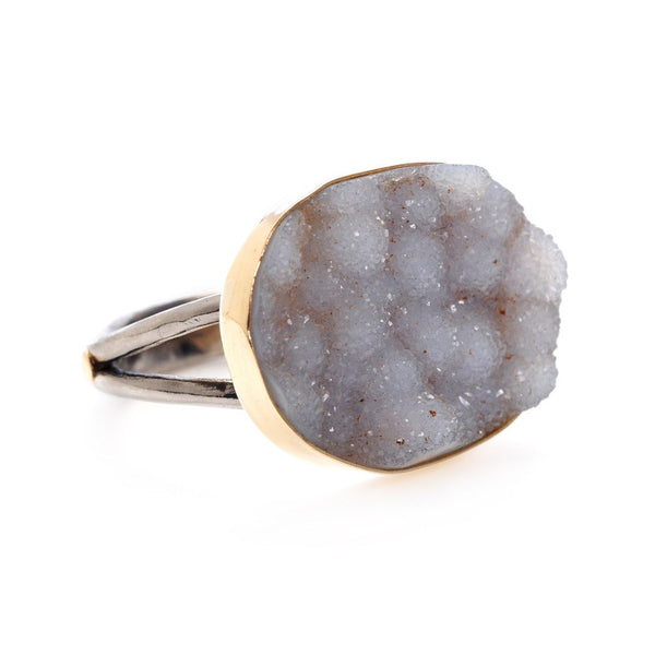 SNOW DRUSY RING - Emily Amey Handmade one of a kind jewelry Hudson Valley New York.