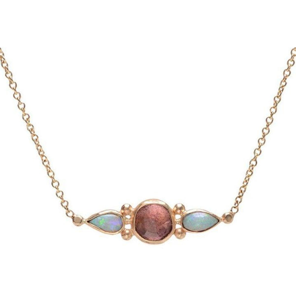 14K PINK TOURMALINE AND OPAL NECKLACE - Emily Amey Handmade one of a kind jewelry Hudson Valley New York.