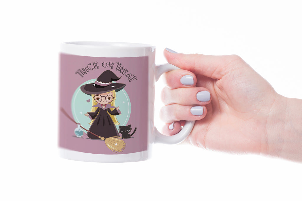 cute witch with glasses Halloween mug for kids