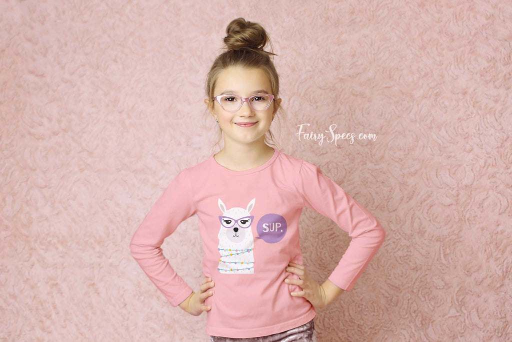 Kids' Long Sleeved Organic Cotton Top with a picture of llama in glasses