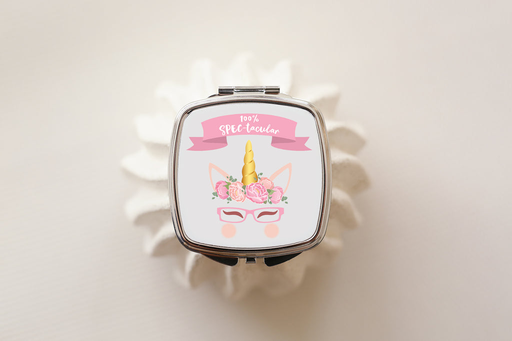 100% spectacular unicorn compact mirror for glasses wearing girls