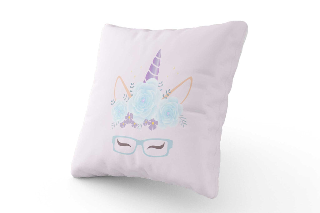 Cushion - Blue & Purple Unicorn with Glasses - Fairy Specs