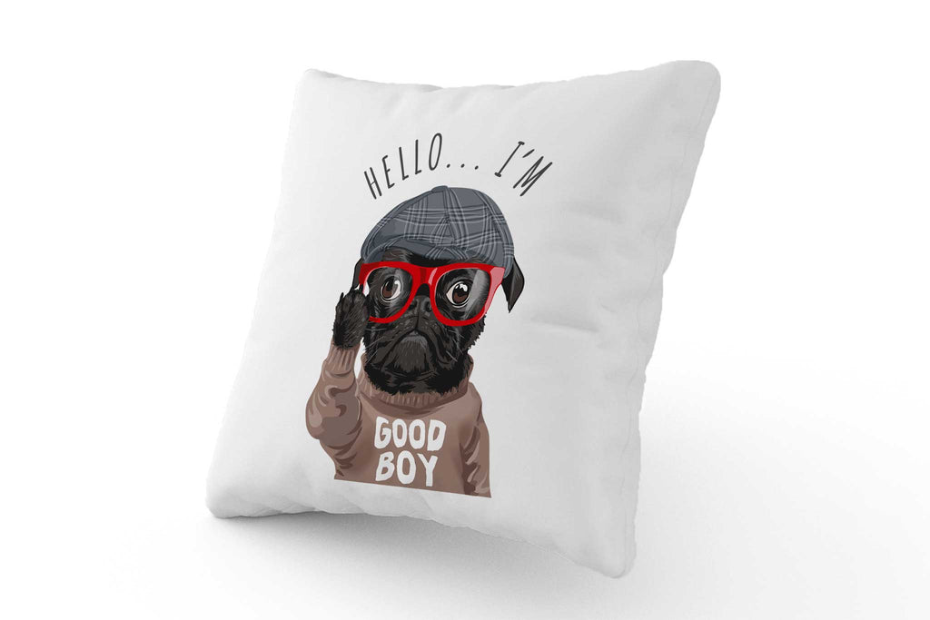 Cushion - Good Boy Pug with Glasses - Fairy Specs