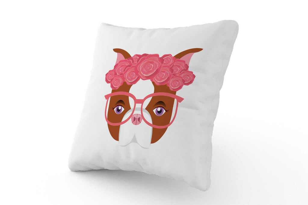 Cushion - Pink Bulldog with Glasses - Fairy Specs