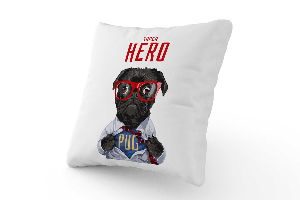 Cushion - Super Hero Pug with Glasses - Fairy Specs
