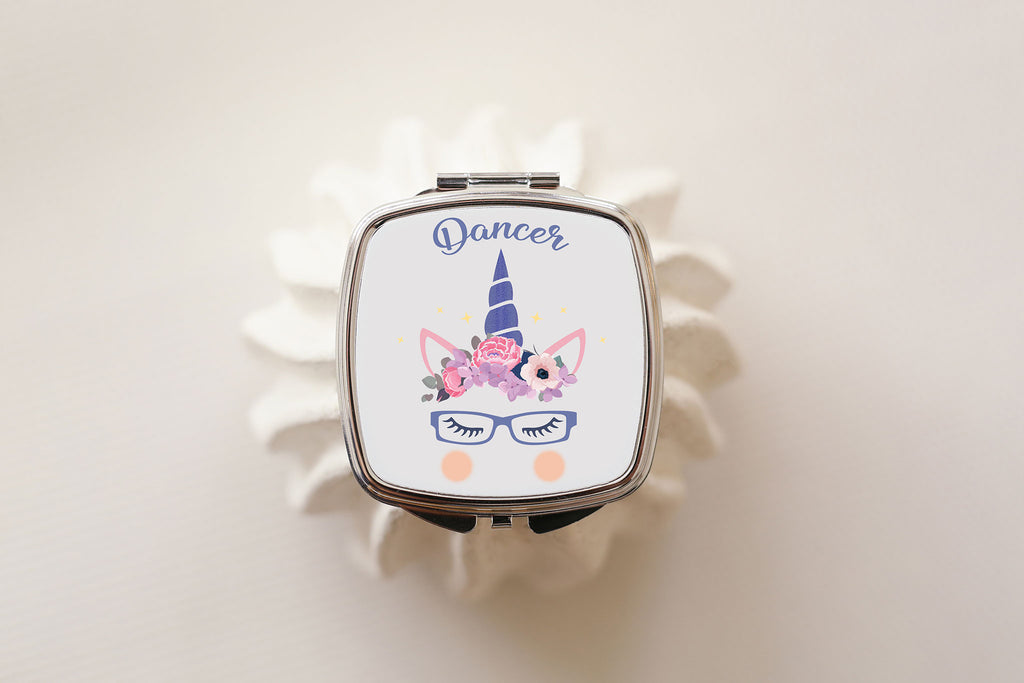 Dancer unicorn with glasses compact mirror