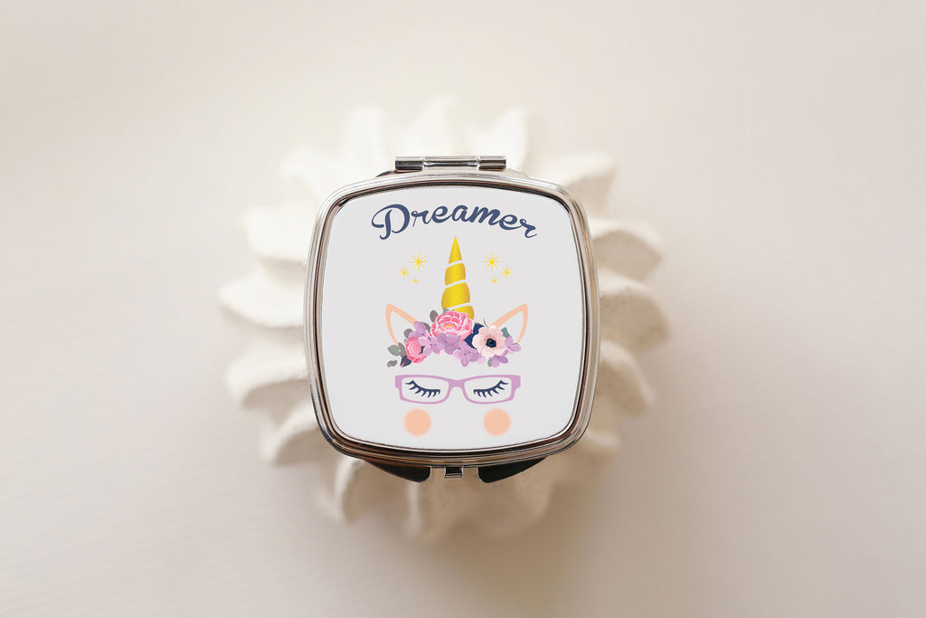 Dreamer unicorn wearing glasses compact mirror