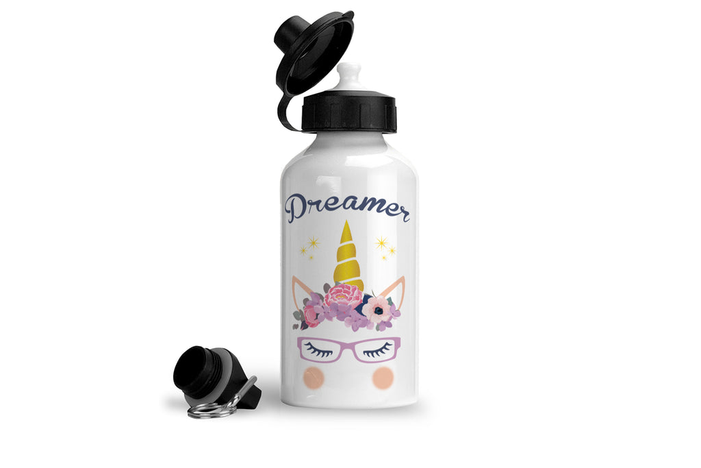 Dreamer unicorn wearing glasses drink bottle