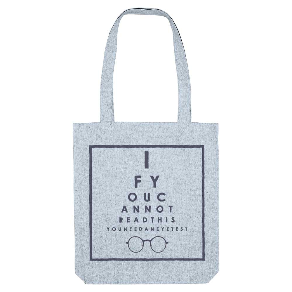 Eyechart Organic Cotton Tote Bag - Blue - Fairy Specs