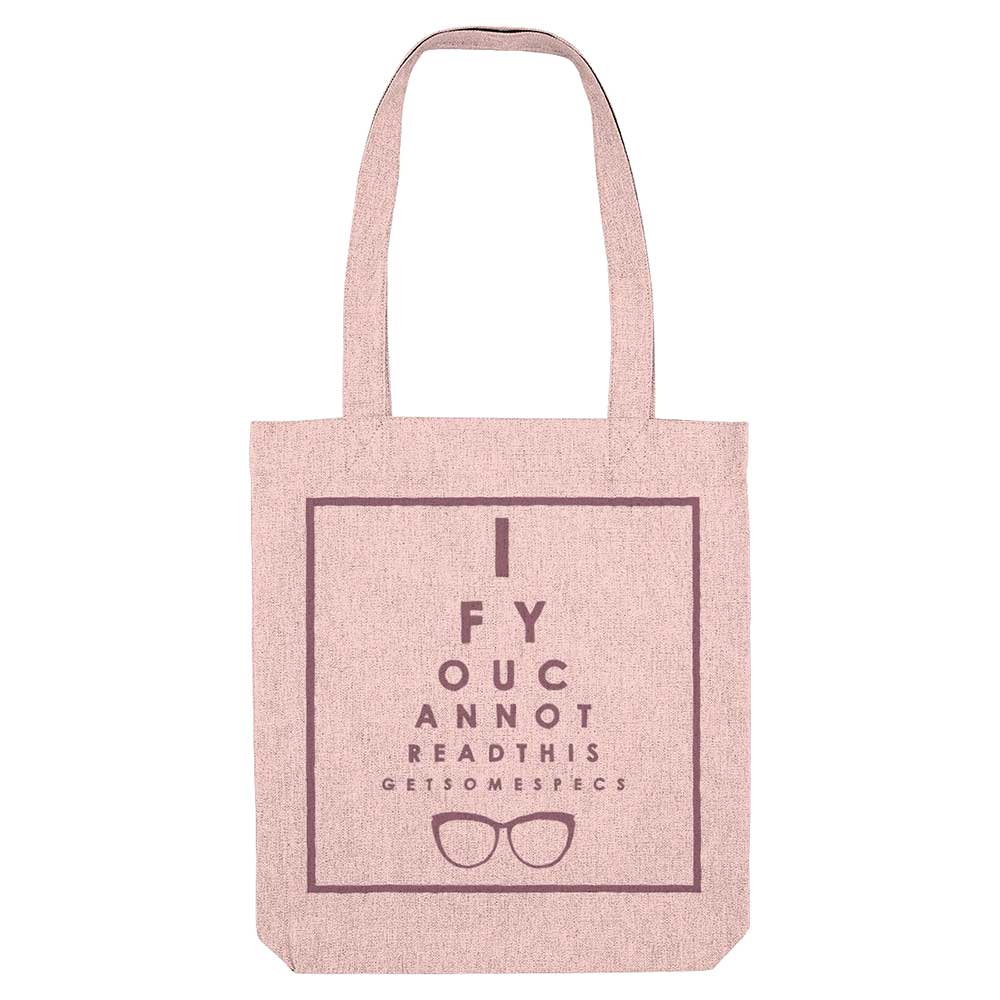 Eyechart Organic Cotton Tote Bag - Pink - Fairy Specs