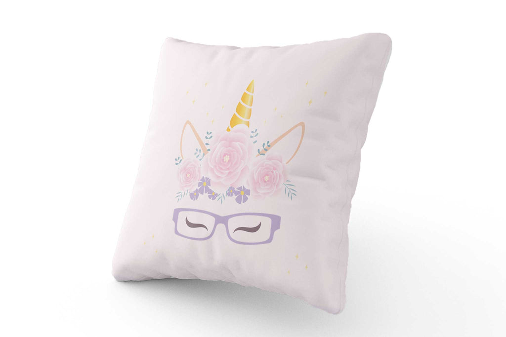 Cushion - Pink & Purple Unicorn with Glasses - Fairy Specs
