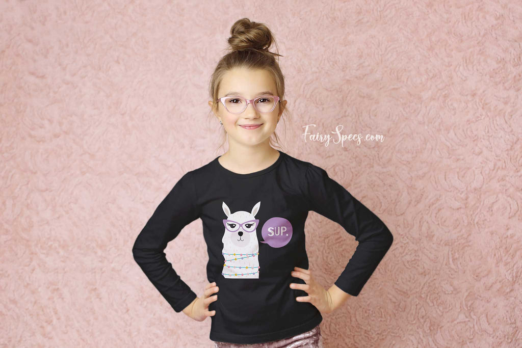 Kids' Long Sleeved Organic Cotton Top - Sup. Glasses-Wearing Llama - Fairy Specs
