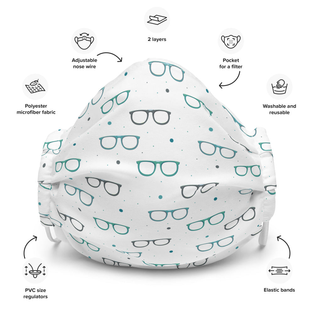 reusable washable face mask with glasses