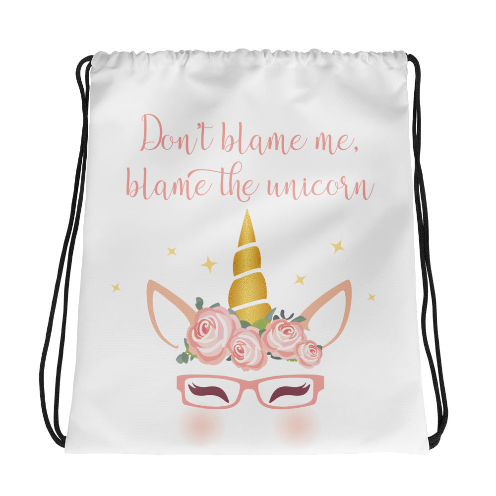 drawstring unicorn bag for girls who wear glasses