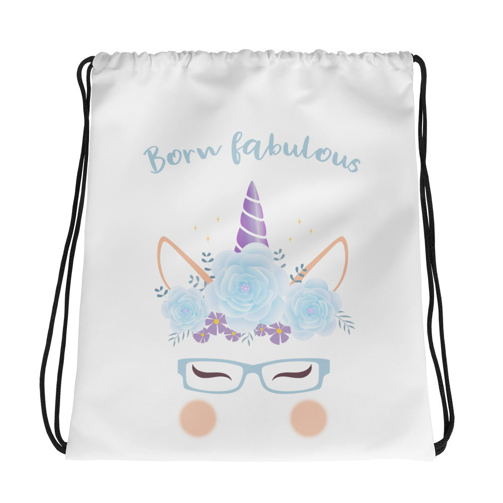 born fabulous unicorn drawstring bag