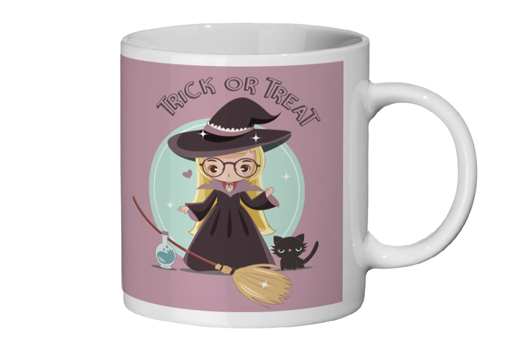 Kids Halloween Mug - Cute Witch with Glasses - Fairy Specs