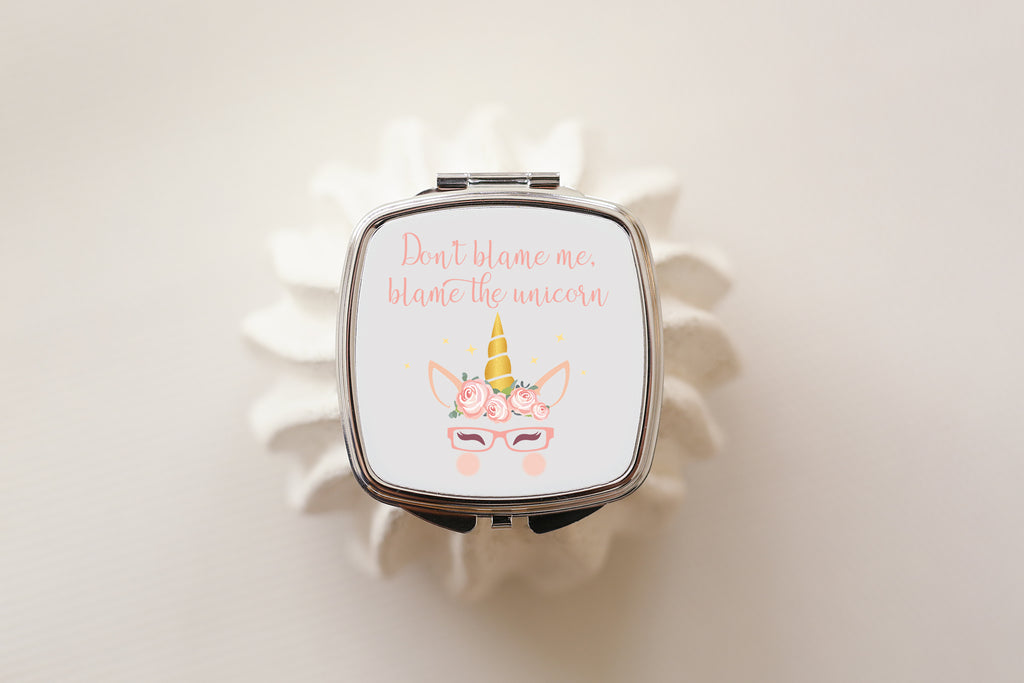 cute unicorn compact mirror for glasses wearing girls