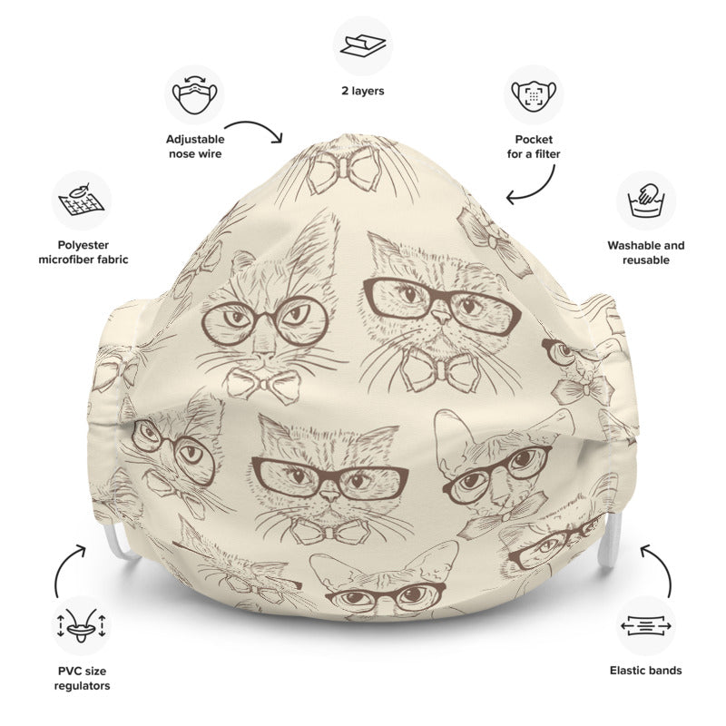 Fairy specs custom made face mask for opticians with eyeglasses pattern hipster cat