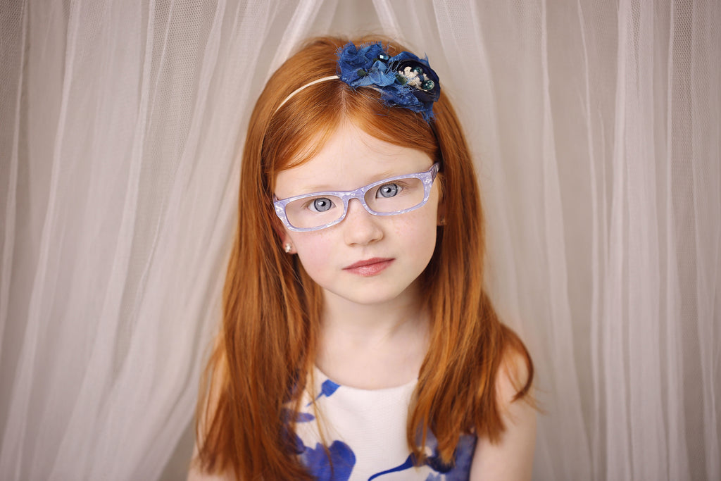 blue pearly girl glasses