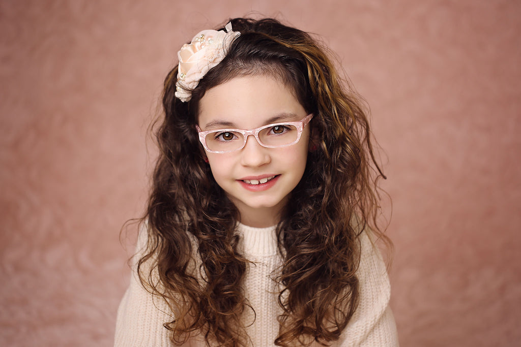 pearly pink glasses frames for little girls